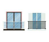 Balcony vector vintage balconied railing windows facade wall of