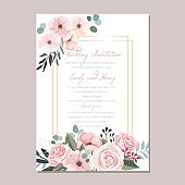Wedding Invitation luxury floral card template with roses, anemones and leaves, bridal bouquet. RSVP, Save the Date, Menu card design, Geometric golden frame. Greeting card elegant vector design.