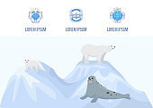 Alaska and north pole vector landing page template. Web banner w