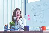 Businesswoman is taking a break in office relaxing with coffee