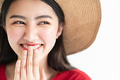 beautiful happiness asian teen woman red dress wear rattan hat summer travel vacation concept white background