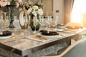 dining tableware and furniture set home interior background concept