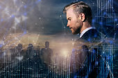smart handsome beard caucasian businessman  double exposure with downtown city building and polygon virtual graphic smart hitech technology ideas concept