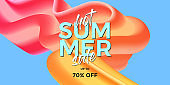 Trendy design template with fluid and liquid shapes. Summer hot sale banner with colorful gradient background and modern lettering. Vector illustration. Eps10