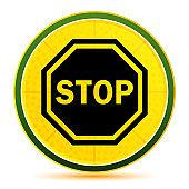 Stop sign icon lemon lime yellow round button illustration