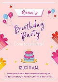 Girl birthday party brochure template. Flyer, booklet, leaflet concept with flat illustration. Vector page cartoon layout for magazine. Anniversary celebration invitation on pink background
