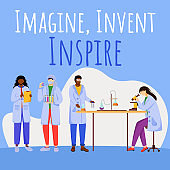 Imagine, invent, inspire social media post mockup. Experiments in laboratory. Advertising web banner design template. Social media booster. Promotion poster, print ads with flat illustrations