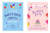 Birthday party brochure templates set. Flyer, booklet, leaflet concept with flat illustrations. Vector page cartoon layout for magazine. Anniversary celebration invitation with text space