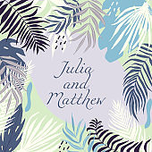 Wedding invitation with floral, tropical leaves, wreath, geometrical. Vector template for birthday, baby shower, flyer, banner with calligraphy,  save the date card. Elegant hipster rustic background.
