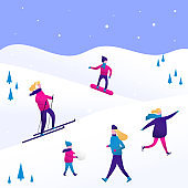 Winter sports with people, men and women, children and family. Vector scene with skiing, skating, snowboarding. Flat characters in the ski resort. Christmas design for greeting card, poster, banner.