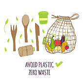 Hand drawn Zero waste concept set. No plastic elements of eco life: reusable paper, wooden, fabric cotton bags, glass, jars, cutlery, cup