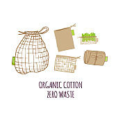 Hand drawn Zero waste concept set. No plastic elements of eco life: reusable paper, fabric cotton bags for food.