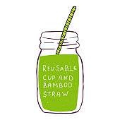 Hand drawn Zero waste concept set. No plastic elements of eco life: reusable cup, glass, jars and bamboo straw