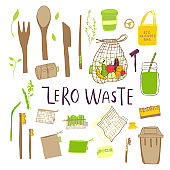 Hand drawn Zero waste concept set. No plastic elements of eco life: reusable paper, wooden, fabric cotton bags, glass, jars, cutlery, razor.