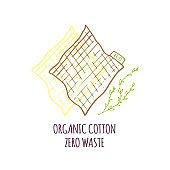 Hand drawn Zero waste concept set. No plastic elements of eco life: reusable paper napkins,  fabric cotton bags.