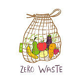 Hand drawn Zero waste concept set. No plastic elements of eco life: reusable paper, fabric cotton bag with vegetables.