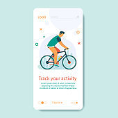 Healthy lifestyle with young man riding bicycle. Landing page design for cycling. Modern Vector illustration concept for websites. User interface UX, UI screen template for mobile smart phone.