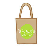 Hand drawn shopping bag with lettering Zero waste for green food, fruits, vegetables. Fabric, cotton canvas