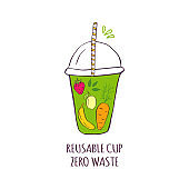 Hand drawn glass with smoothies for Zero waste lifestyle.