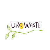 Hand drawn Zero waste logo or sign. Eco badge, tag for shopping, no plastic market, products packaging, ad