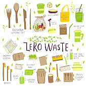 Hand drawn Zero waste concept set. No plastic elements of eco life: reusable paper, bamboo, wooden, fabric cotton bags, glass, jars, cutlery.