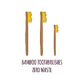 Hand drawn Zero waste concept set. No plastic elements of eco life: reusable bamboo toothbrushes
