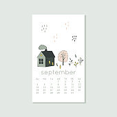 Cute design for calendar 2020, autumn months with house and tree. Week starts on Sunday. Vertical editable calender page template can be used for web, banner, poster and printable graphic