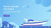 Design template for webpage with sea, ocean and nautical vehicles: sail boat, ship, vessel. Creative flyer for beach summer holiday travel. Vector illustration.