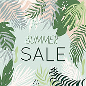 Sale banner with tropical leaves, poster with palm tree, jungle leaf and lettering. Floral tropical summer background design for social media promotional content. Vector illustration