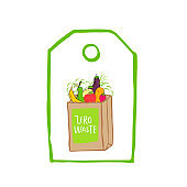 Hand drawn Zero waste logo or sign. Eco badge, tag for shopping