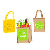 Hand drawn Zero waste logo or sign. Eco badge, tag for shopping, no plastic market, products packaging.