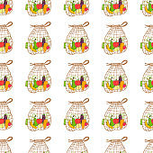 Seamless pattern. Hand drawn Zero waste vector design.