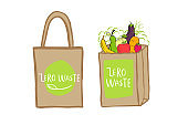 Hand drawn shopping bag with lettering Zero waste for green food, fruits, vegetables. Fabric, cotton canvas.