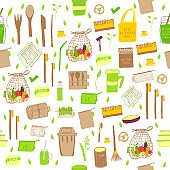 Seamless pattern. Hand drawn Zero waste vector design. No plastic elements of eco life: reusable paper, bamboo, wooden, fabric cotton bags, glass, jars, cutlery.