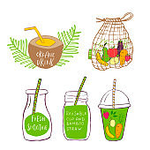 Hand drawn bag and  glass with smoothies for Zero waste lifestyle,  green detox.