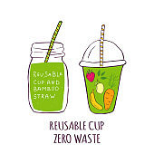 Hand drawn glass with smoothies for Zero waste lifestyle,  green detox. Organic fruit shake cocktail.