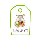 Hand drawn Zero waste  or sign. Eco badge, tag for shopping, no plastic market, products packaging