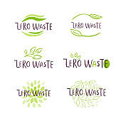 Hand drawn Zero waste logo or sign. Eco badge, tag for shopping, no plastic market, products packaging