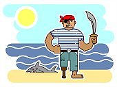 One-eyed Pirate With A Saber, In A Bandana, With A Wooden Prosthetic Leg, Cartoon Character. Angry Pirate By The Sea, Near A Dead Shark. For Printing On Fabric, T-shirt, Print For Textiles, Banners, Posters.