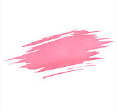 Hand painted pink watercolor brush texture isolated on the white background. Template usable for cards, invitations and more.