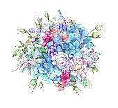 flower decorative bouquet watercolor illustration