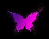 Butterfly silhouette with paint splashes and blots with a beautiful multi-colored and bright gradient, isolated on a black background.