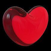 Glass heart shape red translucent LOVE symbol over black