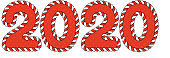 2020 numbers with a border. Red and white twisted cord and graceful ornament.
