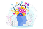 Human head with thoughts and ideas. Metaphor of creative inspiration