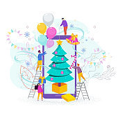 Tiny people, young men and women decorate Christmas tree on mobile screen.