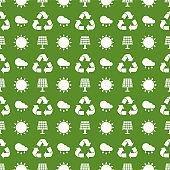 Seamless ecology pattern. Flat vector cartoon illustration.