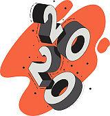 Falling 3D digits 2020. Isometric text