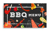 Barbecue party, menu, invitation design. BBQ