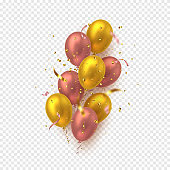 Glossy balloons with confetti.